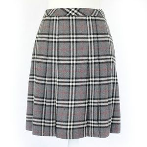 VINTAGE Grey Plaid Pleated Skirt